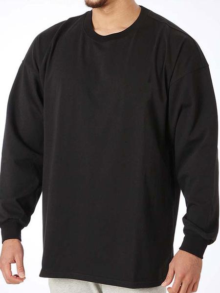 Milanoo T Shirts Casual Jewel Neck Long Sleeves Sweatshirt