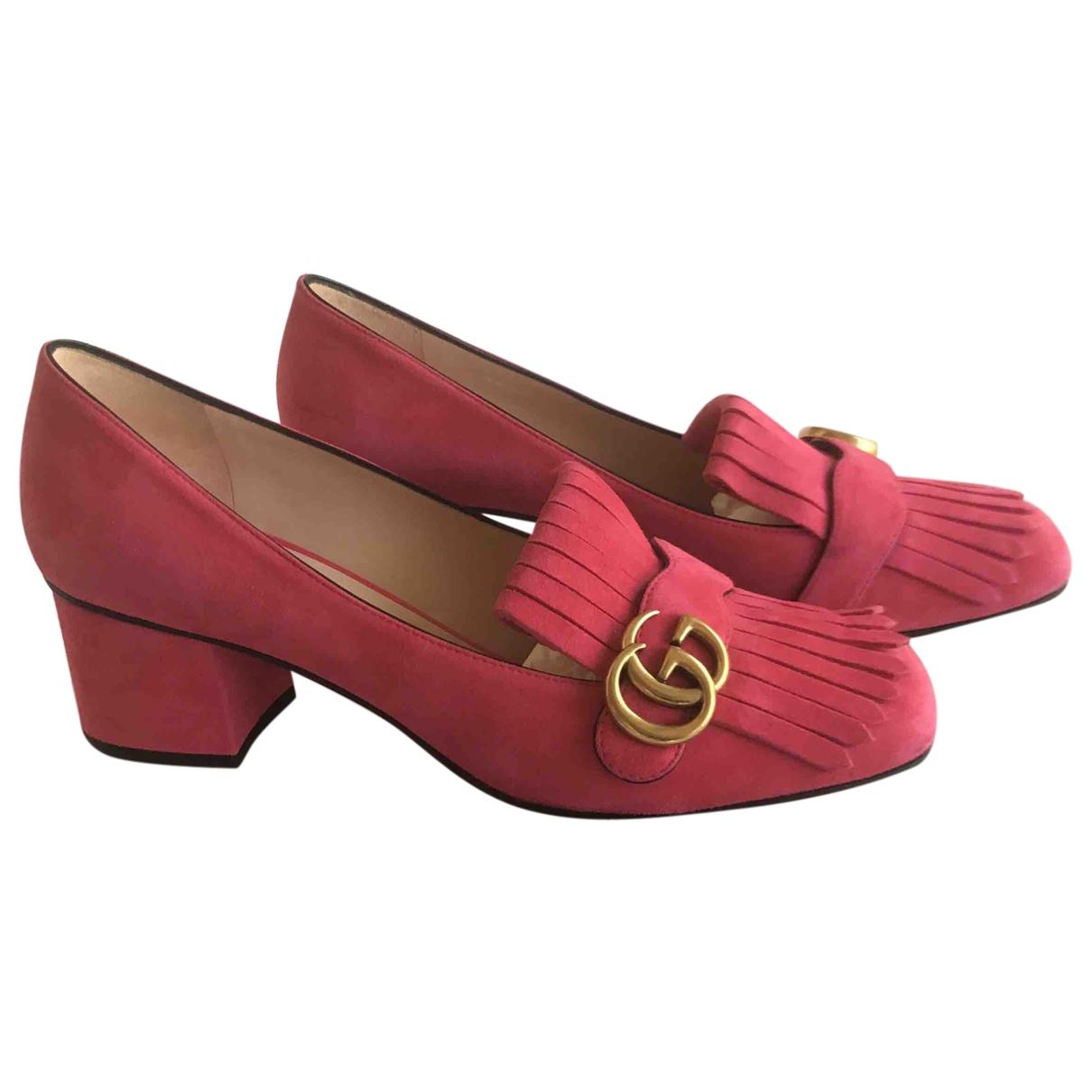 Gucci - Escarpins Marmont pour femme en suede - rose