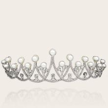 Rhinestone & Faux Pearl Decor Bridal Crown