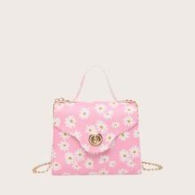 Girls Twist Lock Daisy Graphic Satchel Bag