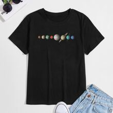 Men Planet Print Round Neck Tee
