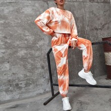 Pullover mit sehr tief angesetzter Schulterpartie & Jogginghose Set