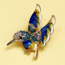 Rhinestone Decor Bird Brooch
