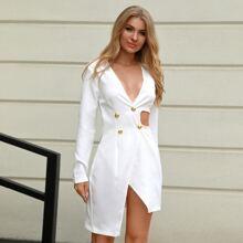 Double Crazy vestido bajo asimetrico con abertura con boton doble