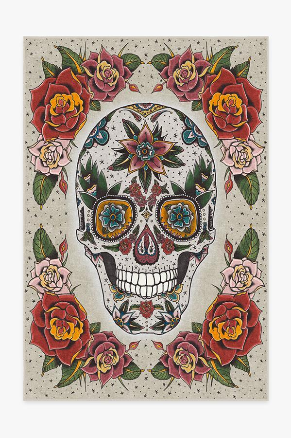 Washable Rug Cover | Sugar Skull Rug | Stain-Resistant | Ruggable | 6'x9'