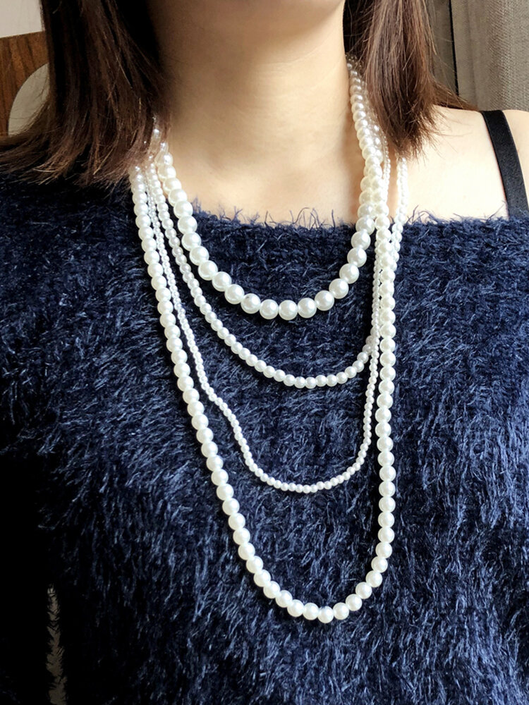 Bohemian Multilayer Beaded Necklace Man-Made Pearl Autumn Winter Sweater Chain