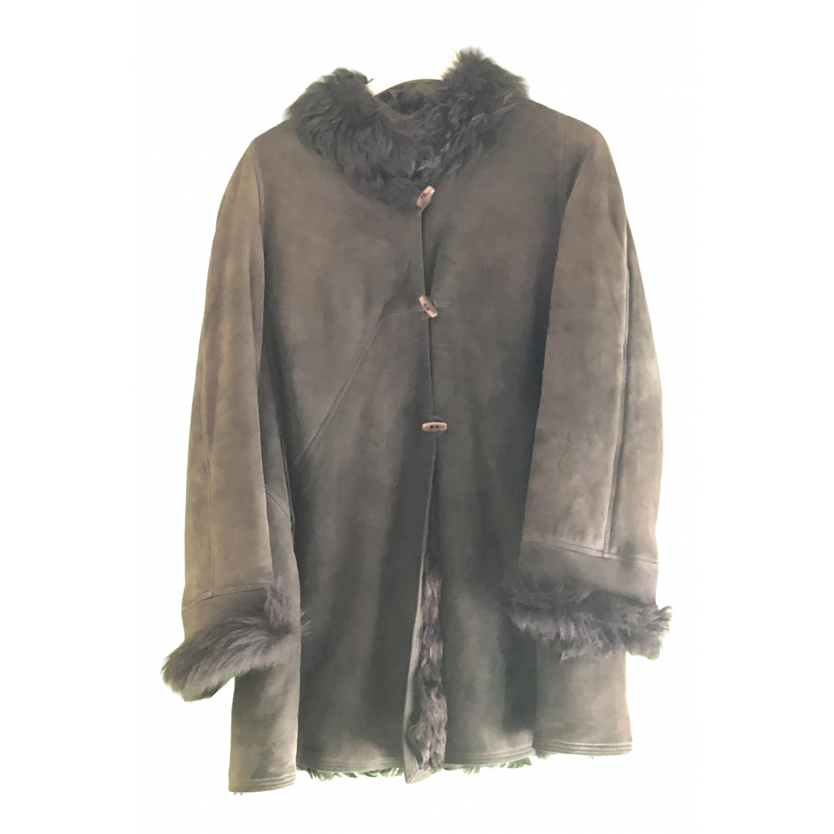 Shearling \N Brown Fur Leather jacket for Women 46 IT