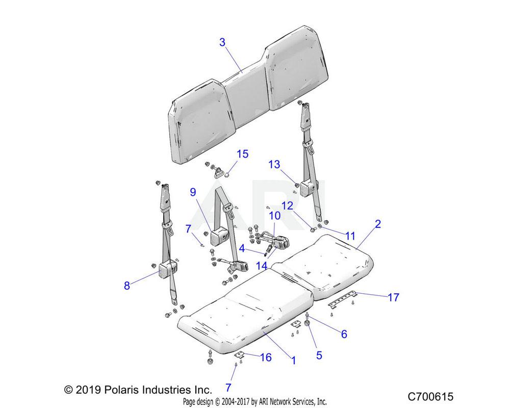 Polaris OEM 2687935-070 COVERING-SEAT, BOTTOM, 40, BLK