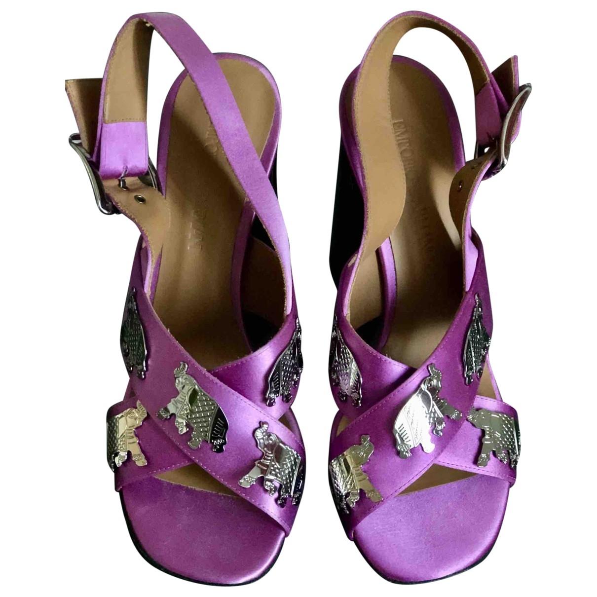 Emporio Armani - Sandales   pour femme en cuir - violet