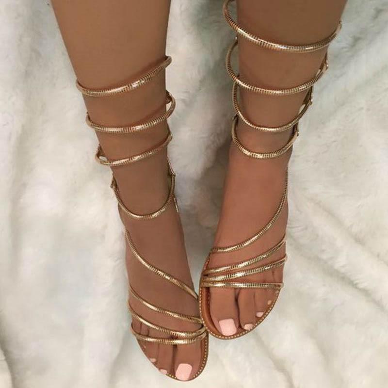 Ericdress Golden Cross Strappy Flat Sandals