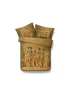 Meerkat Family Printed Cotton 4-Piece 3D Bedding Sets/Duvet Covers