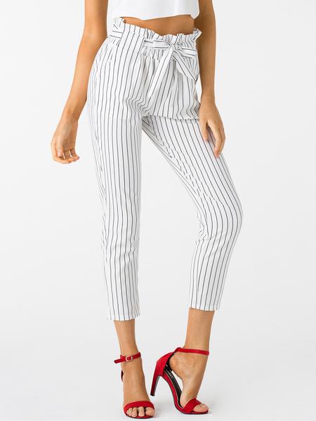 Yoins White Stripe Pattern High Waisted Pants