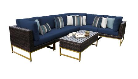 Barcelona BARCELONA-07b-GLD-NAVY 7-Piece Patio Set 07b with 3 Corner Chairs  3 Armless Chairs and 1 Coffee Table - Beige and Navy Covers with Gold