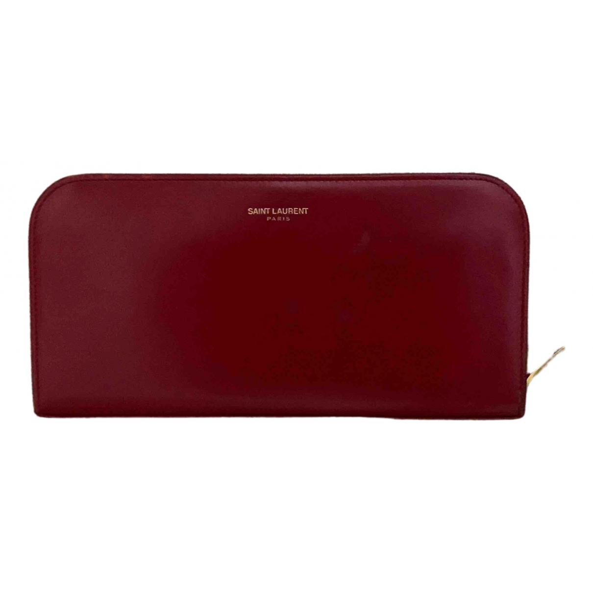 Saint Laurent - Portefeuille Rive Gauche pour femme en cuir - rouge