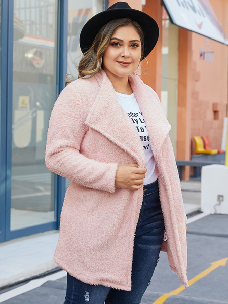 YOINS Plus Size Pink LapelCollar Teddy Coat