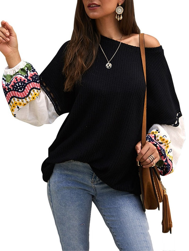 Ericdress Patchwork Lantern Sleeve Thin Fall Loose Sweater