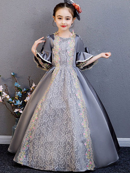 Milanoo Kids Halloween Costumes Outfits Victorian Style Floral Lace Grey Royal Vintage Dress Cosplay Wears