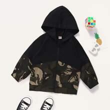 Toddler Boys Contrast Camo Zip-up Hooded Jacket