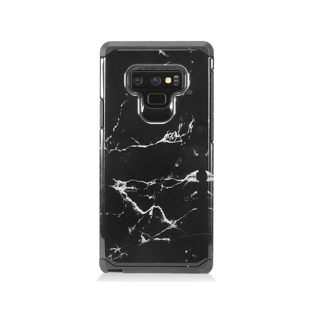 Insten Black Marble Dual Layer Hybrid PC/TPU Rubber Case Cover Compatible With Samsung Galaxy Note 9