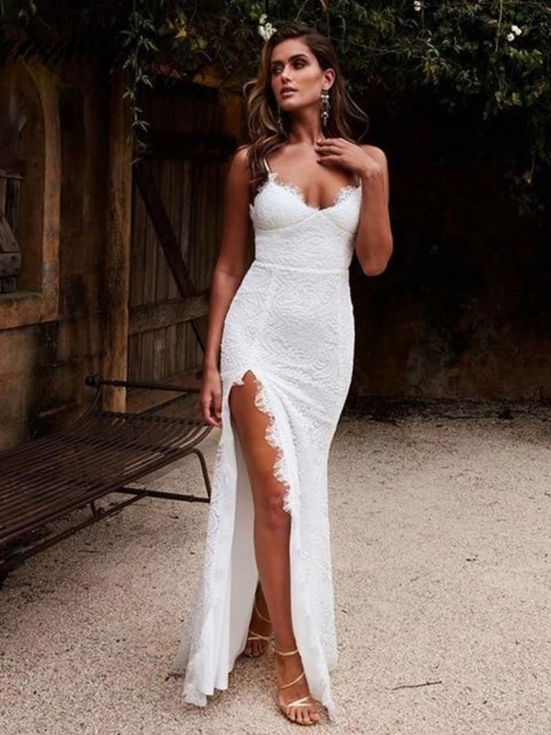 Ericdress Lace Floor-Length Slit Side Sheath Wedding Dress 2020