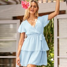 Swiss Dot Belted Layered Chiffon Dress