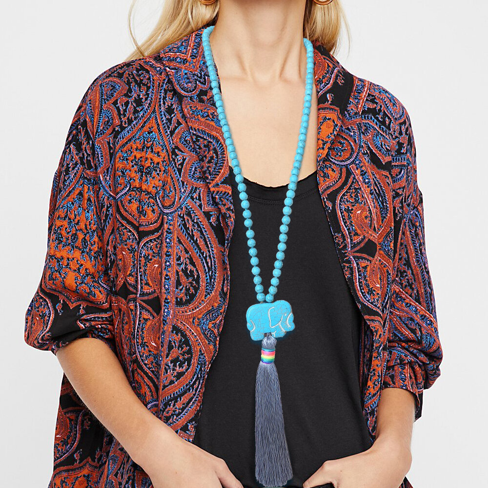 Bohemian Long Tassel Necklace Turquoise Elephant Beaded Pendant Necklace Women Sweater Chain Jewelry