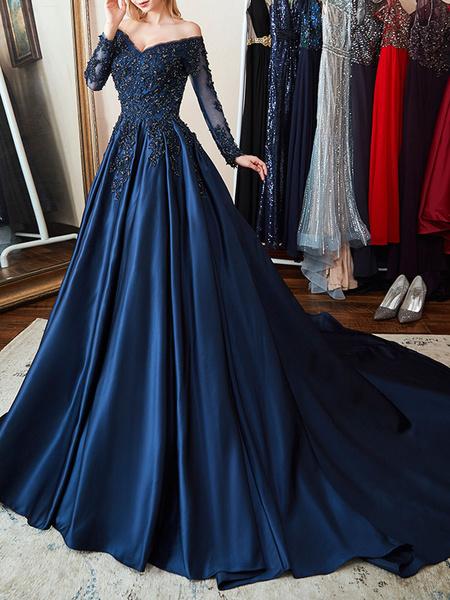 Milanoo Vestido de noche de saten Azul marino oscuro Una linea fuera del hombro Vestido de fiesta formal plisado con cuentas de manga larga