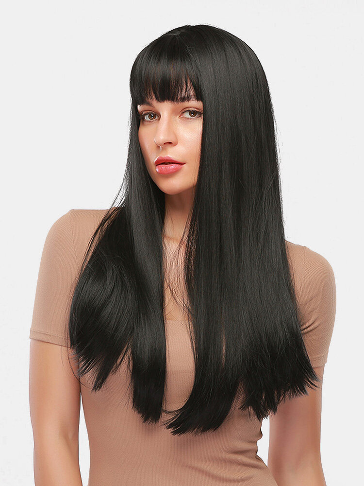 28 Inch Black Long Straight Hair Soft Natural Bangs Chemical Fiber Wig