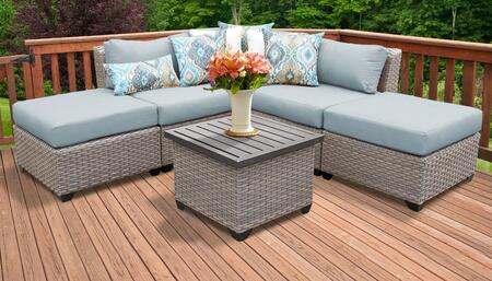 Florence Collection FLORENCE-06f-SPA 6-Piece Patio Set 06f with 1 Corner Chair   2 Armless Chair   2 Ottoman   1 End Table - Grey and Spa