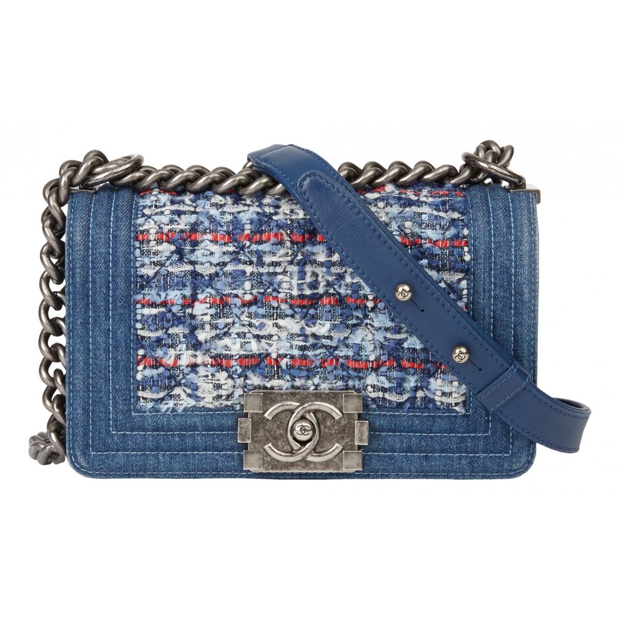 Chanel - Sac a main Boy pour femme en tweed - bleu