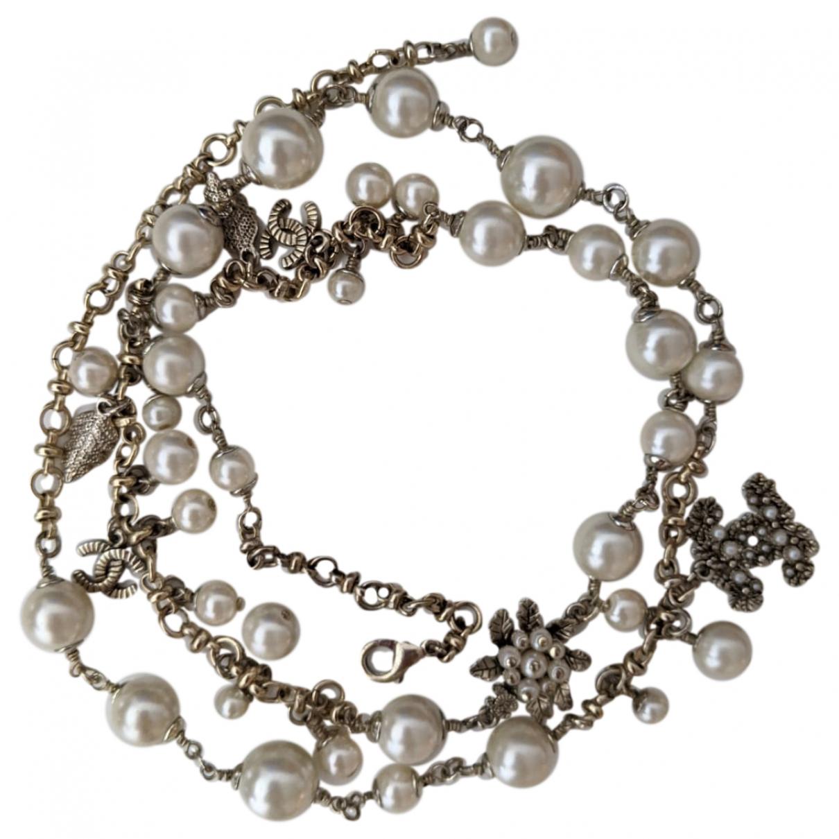 Chanel - Sautoir CC pour femme en metal - blanc