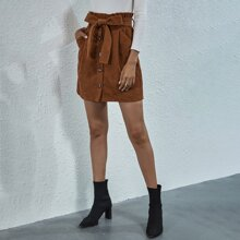 Corduroy Paperbag Waist Belted Straight Skirt