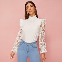 Embroidered Mesh Ruffle Trim Blouse