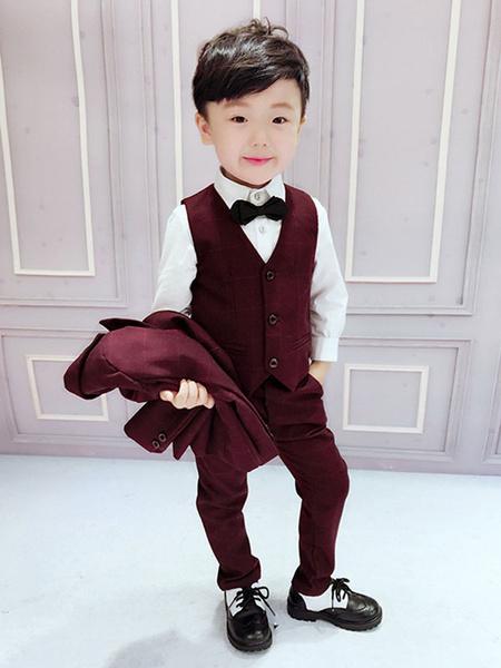 Milanoo Ring Bearer Suits Polyester Cotton Long Sleeves Overcoat Waistcoat Pants Burgundy Wedding Boy Suits