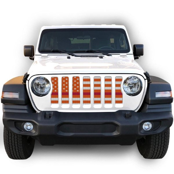 Under The Sun Inserts INSRT-WHTORGTRL-JL/JT White Orange Thin Red Line Grill Inserts Jeep Wrangler JL | Gladiator 2018+