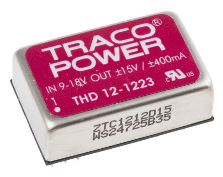 TRACOPOWER THD 12 12W Isolated DC-DC Converter Through Hole, Voltage in 9 → 18 V dc, Voltage out ±15V dc