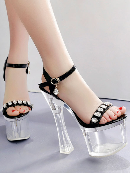 Milanoo Sexy Sandals For Woman High Heel Transparent PU Leather Square Toe Platform Sexy Sandals