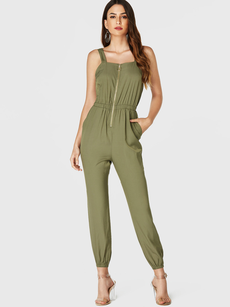 YOINS Army Green Side Pockets Sleeveless Jumpsuit