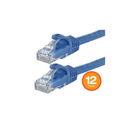 FLEXboot Cat6 Ethernet Patch Cable Snagless RJ45 550MHz UTP Pure Bare Copper Wire 24AWG - 12/Pack, 2ft