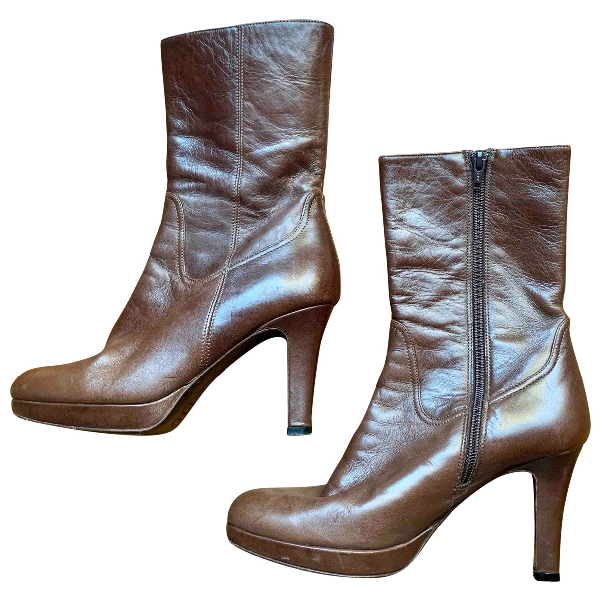 Barneys New York \N Brown Fur Boots for Women 38 EU