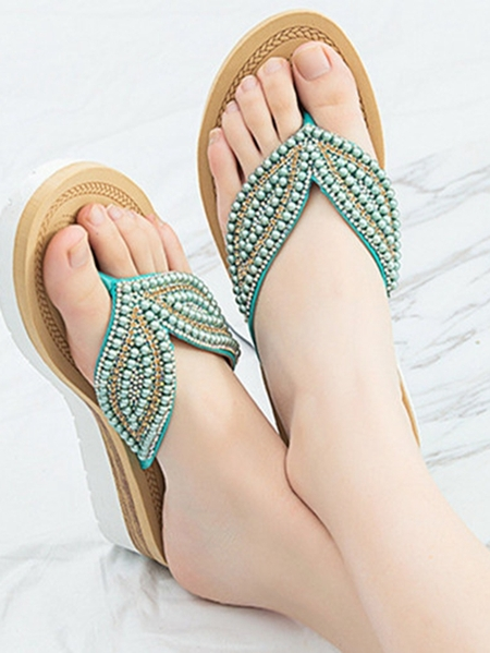 Yoins Casual Pearl Non-slip Flat Flip Flops