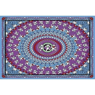 Cotton Grateful Dead Tapestry Wall Hanging Classic Dancing Bear 60x90 & 30x45 inches (Blue - 30 x 45 inches)