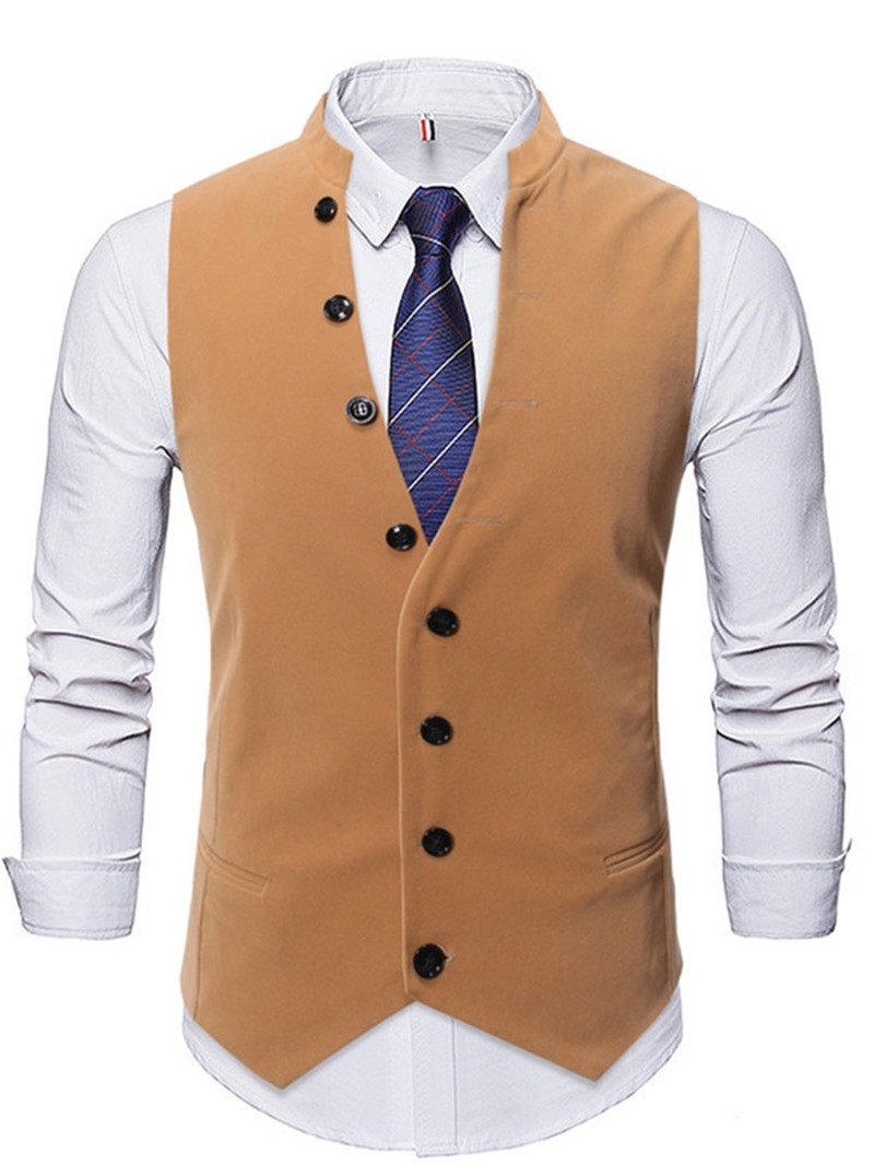 Ericdress Stand Collar Plain Button Fall OL Waistcoat