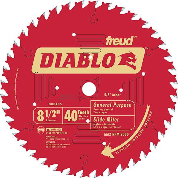D0840S Diablo Miter/Sliding Miter Blade, 8-1/2