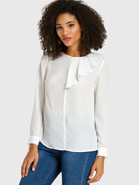 Yoins White Pleated Design Long Sleeves Blouse