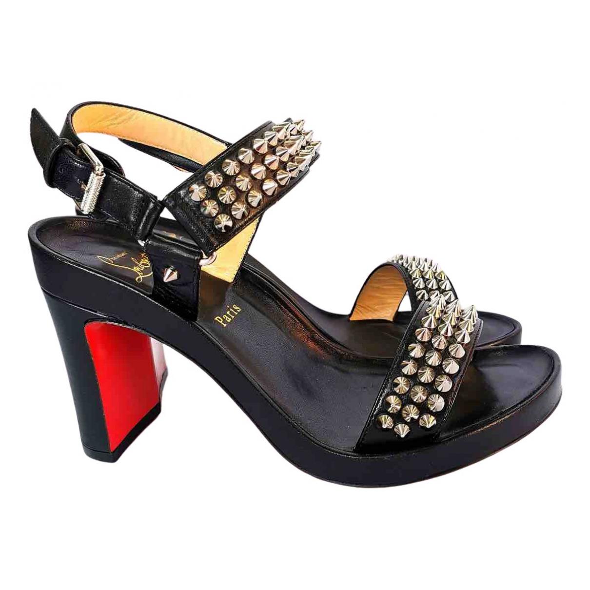 Christian Louboutin N Black Leather Sandals for Women 38.5 EU