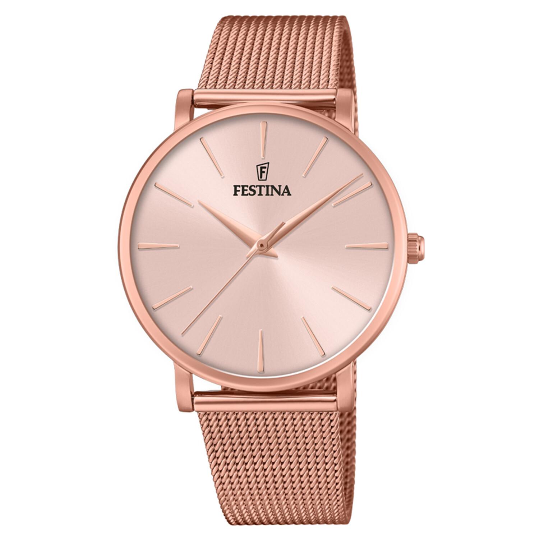 Festina Womens Boyfriend F20477-1F24 Pink Stainless-Steel Quartz Dress Watch