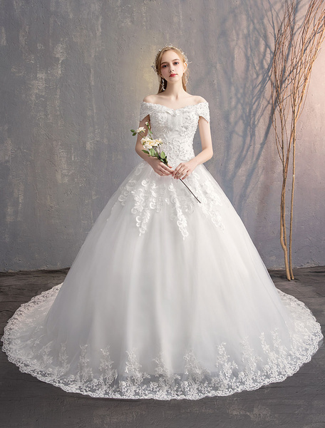 Milanoo Ball Gown Princess Wedding Dresses Ivory Lace Beaded Chains Off The Shoulder Bridal Dress