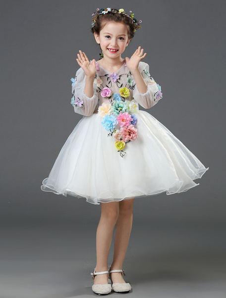 Milanoo Chiffon Flower Girl Dress White Princess Ball Gown Flower Beading 3/4 Length Sleeve Toddlers Pageant Dress