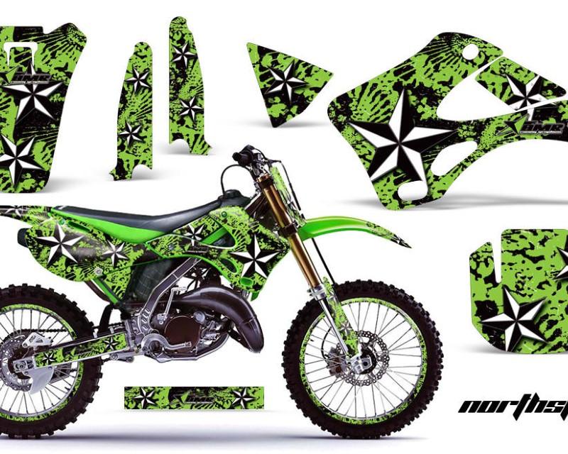 AMR Racing Graphics MX-NP-KAW-KX125-KX250-99-02-NS G Kit Decal Wrap + # Plates For Kawasaki KX125   KX250 1999-2002áNORTHSTAR GREEN